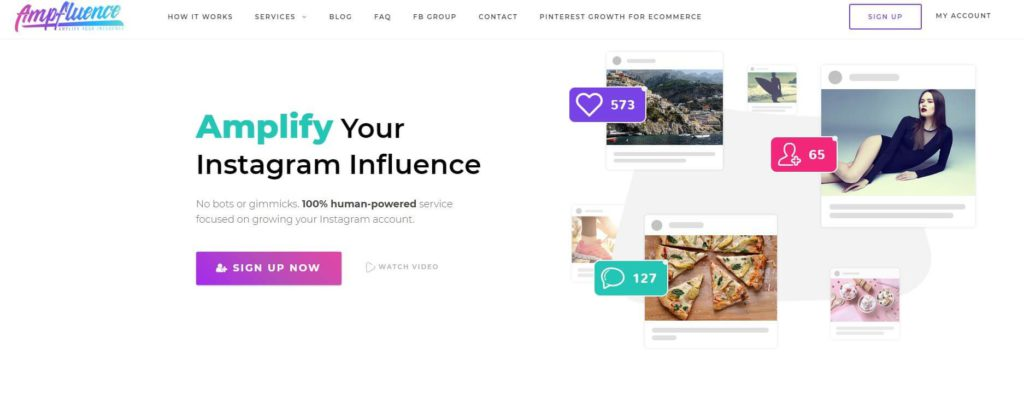 A picture of Ampfluence's homepage