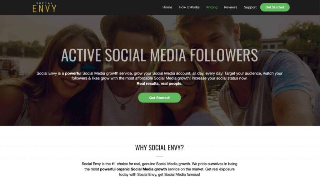 A screenshot of old Social Envy's website
