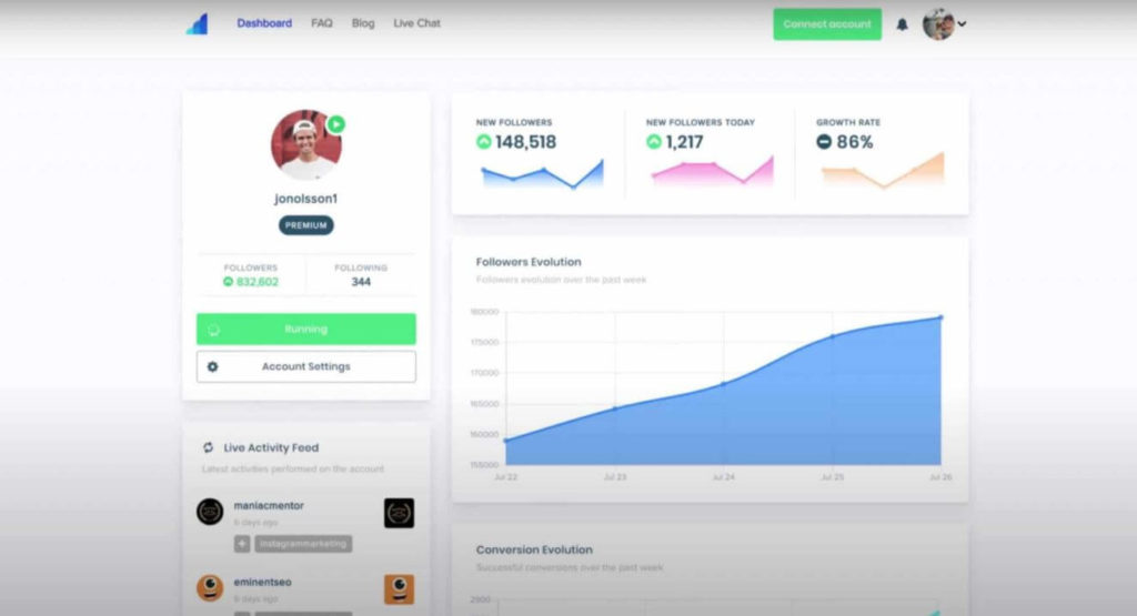 An image showing Social Drift's former interface