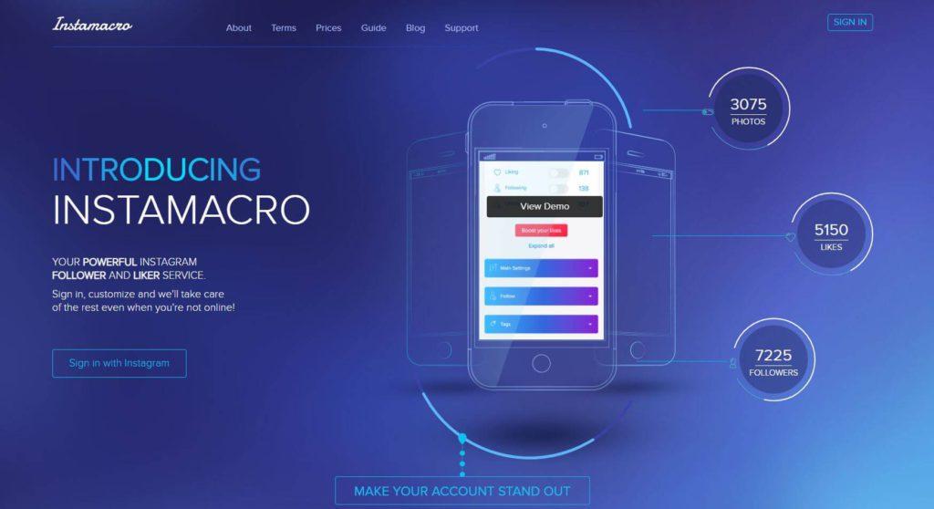 A screenshot depicting Instamacro's website