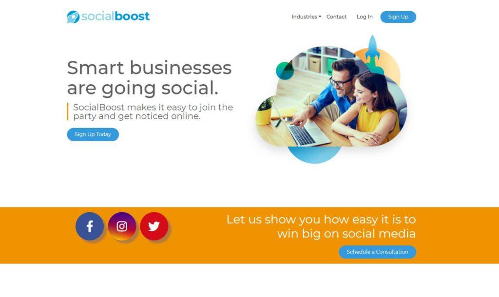 A screenshot of Social Boost's website