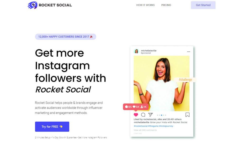 An image of RocketSocial's website