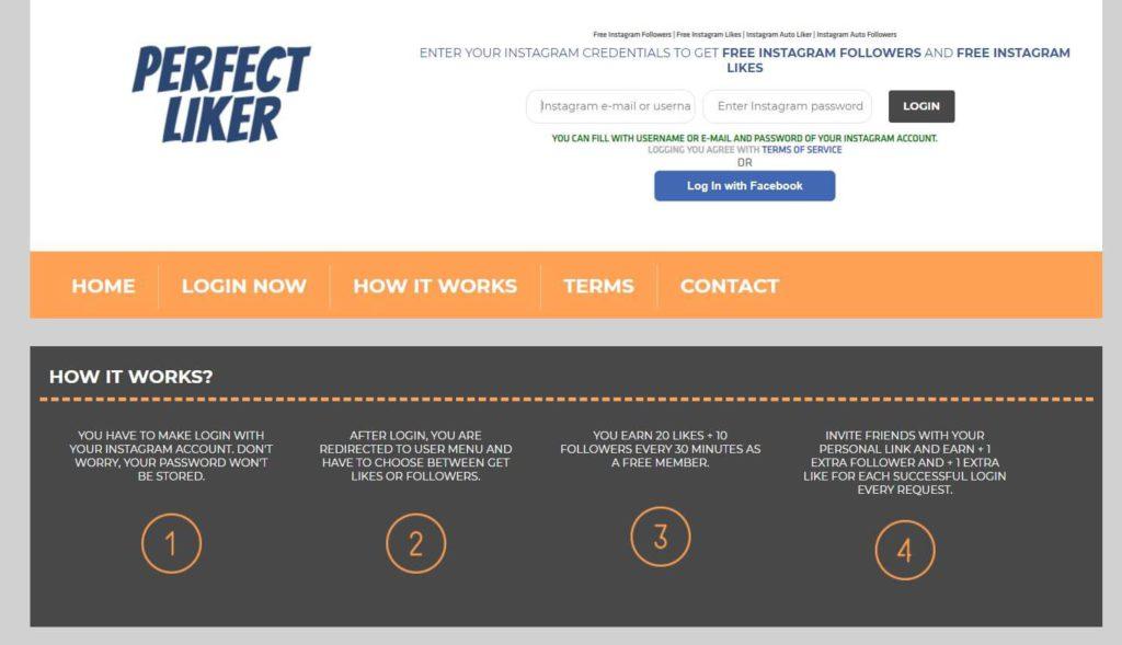 PerfectLiker.com website on a screenshot