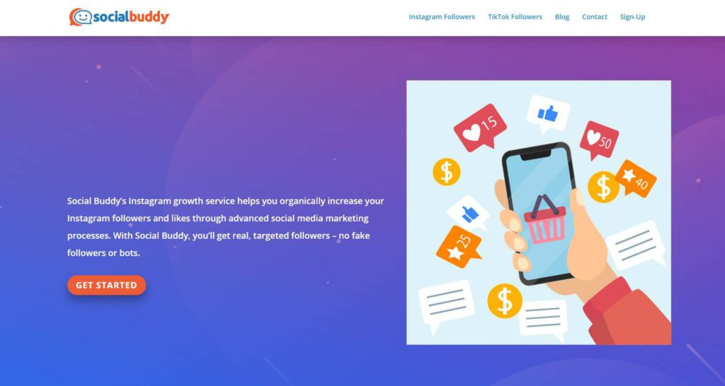 Social Buddy's homepage on a screenshot