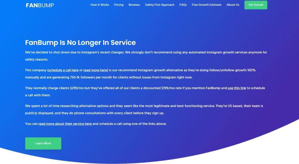 A screenshot of FanBump's canceled website