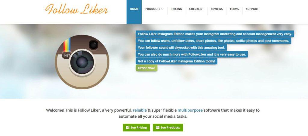 A homepage of FollowLiker on a screenshot