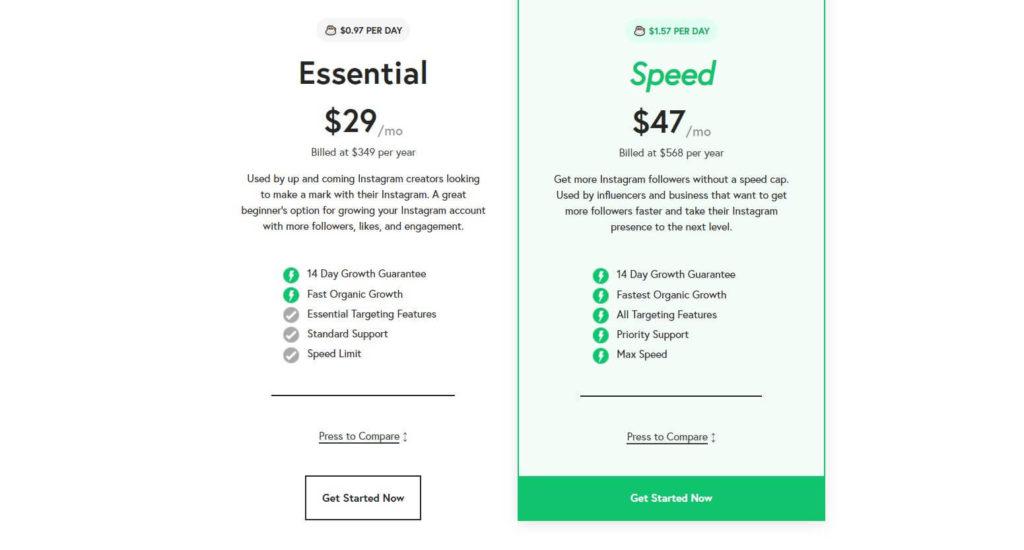 A screenshot depicting Nitreo's pricing plan