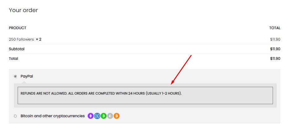 A screenshot showing the muchfollowers checkout