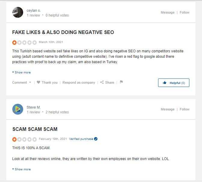 A screenshot showing sitejabber reviews