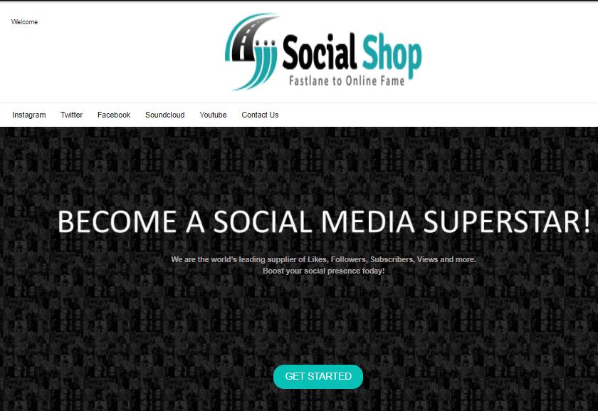 A screenshot showing socialshop on the internet archives