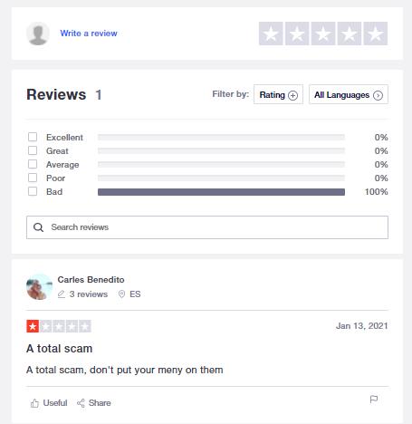 A screenshot showing a trustpilot review