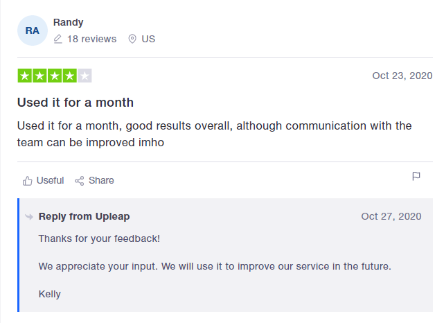 An image of an Upleap review on Trustpilot.